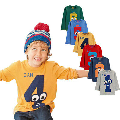 Children Kids Baby Boy Funny Cartoon Number Print Tops Blouse Casual Sweatshirts