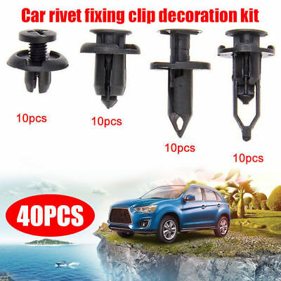 40x Car Push Retainer Pin Body Bumper Rivet Trim Moulding Clip Accessory Kit SY