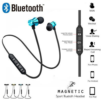 W/ Mic Bluetooth Sports In-Ear Wireless Earphones Stereo Headphones Headsets UK