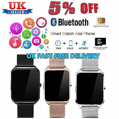 UK Bluetooth Smart Watch Phone Mate + Camera GSM SIM For Android iPhone Samsung
