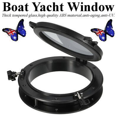 10 inch Boat Yacht Round Opening Portlight Replacement Window Porthole Black AU