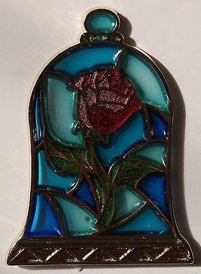 Disney Beauty & The Beast Belle Rose Stained Glass Pin New On Card