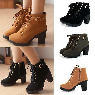 daaf5f0ff43 Women Lace UP Ankle Boots High Heel Martin Boots Leather Buckle Platform  Shoes