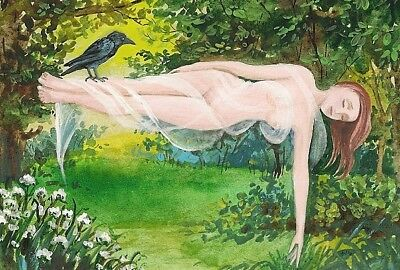 4x6 PRINT OF PAINTING RAVEN CROW RYTA NUDE FAIRY WITCH SPRING VICTORIAN STYLE