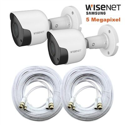 2 Pack Wisenet SDC-89445BF 5MP Camera w/ 100' Cable SDH-C85100BF, SDH-C84085, 45