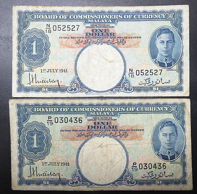 2 British Straits Malaya $1 one dollar banknotes 1941 KGVI King George VI notes