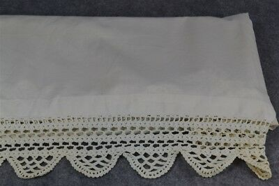 linen sheet crochet edge Victorian 82x80 white hand made antique original vg
