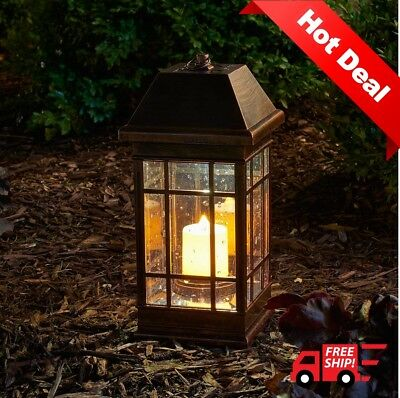 Smart Outdoor Solar Lantern Hanging Light Garden LED Yard Patio Pillar Candle