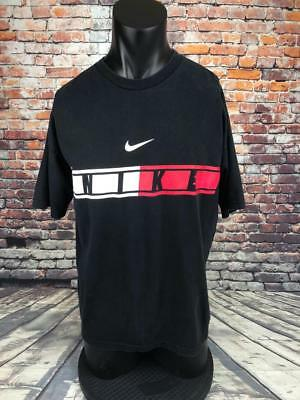 bc14ef79aea192 NIKE VINTAGE 1985 black spell out logo T shirt mens XL made in USA ...