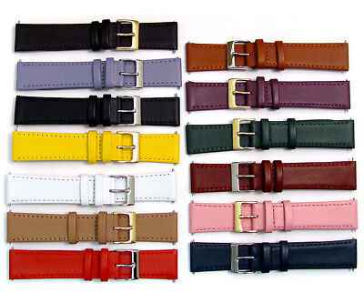 Smooth Stitched Leather Watch Strap C088 Lots of Colours & Sizes 15mm - 22mm