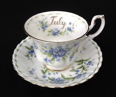 Royal Albert Flower Of The Month July Cup and Saucer Forget-Me-Not