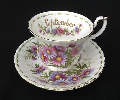 Royal Albert Flower Of The Month September Cup and Saucer Michaelmas Daisy