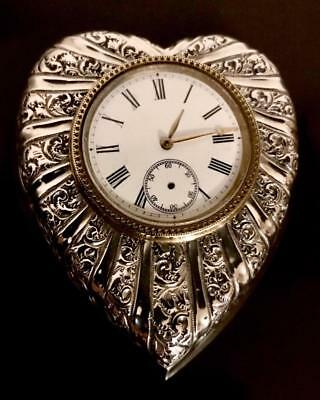 Antique 1897 Douglas Clock Company Heart Shaped Sterling Silver Table Clock A/f