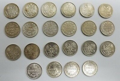 Lot of 22 Unc BU Finland 50 Pennia Silver Coins 1914 1916 1917 NICE! -I012-