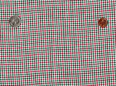 """red white & green cotton homespun fabric 1 yard by 44"""" wide"""