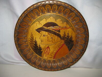 Vintage Pyrography Wood Burned Hand Colored Alpine Woman Portrait Plate