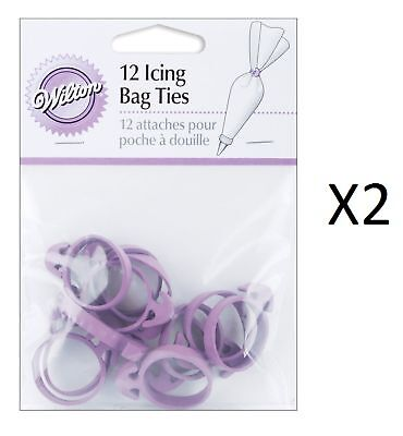Wilton Decorating Cake Icing Bag Ties Set 12 Purple Squeeze Out Icing (2-Pack)