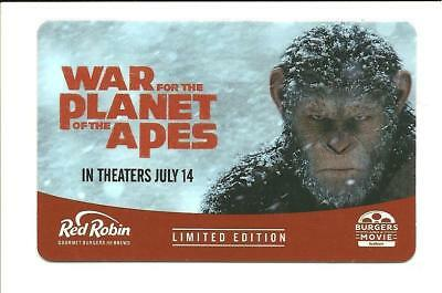 Red Robin War for the Planet of the Apes Gift Card No $ Value Collectible