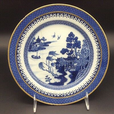 """Antique Chinese Export Blue Willow Gold Trim Border 9.5"""" Dinner Plate Ceramic"""