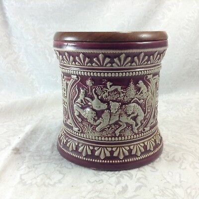 Marzi Remy Humidor Jar West Germany Red Hunting Scene