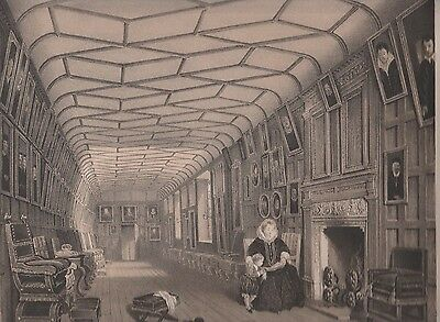1872  Two Antique Lithographs - Knole House, Kent - Brown Gallery & Chapel Annex