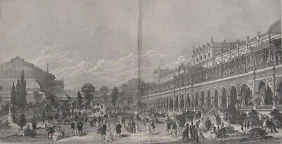 1871 Large Antique Engraving - Royal Albert Hall &  Exhibition Galleries, London