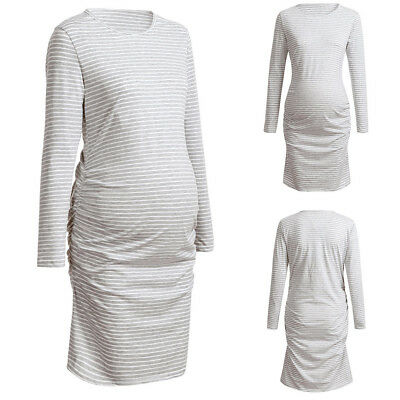 7569812f4313a Women Mom Maternity Pregnancy 3/4 Sleeve Round Neck Casual Striped Dress  Clothes