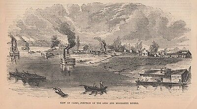1853 Antique Engravings - ILLINOIS - Rock Island, Cairo, Marine Hospital,Chicago