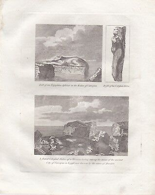 1801 Antique Engraving - RUINS OF CANOPUS, EGYPT - Colossal Statue & Sphinx