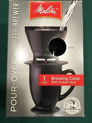 Melitta 1 Cup Pour-Over Coffee Brewer Ceramic Mug & Brewing Cone + Filters