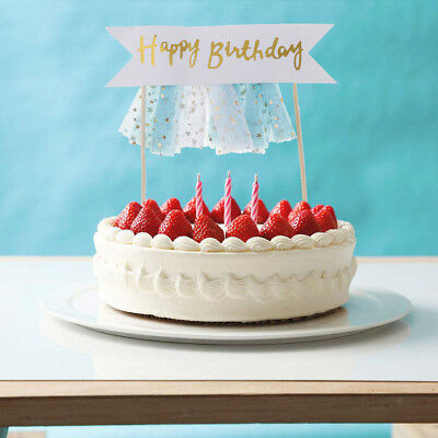 6pcs Happy Birthday Star Tulle Cake Topper Picks Home Party Banner