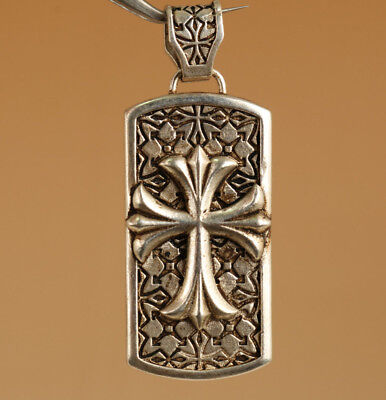 cool Chinese Old Tibet silver Miao silver Hand Carved Pendant Cross Blessing