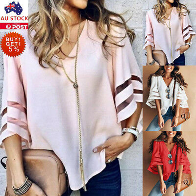 AU Womens V Neck Flared Short Sleeve Tops Ladies Casual Loose Blouse Baggy Shirt