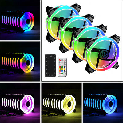 Computer Cooling Fan Adjustable RGB LED Light Cooler with Remote for CPU LD1717