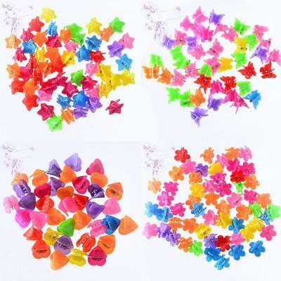 100PCS Kids Girl Colorful Assorted Mini Butterfly Plastic Hair Clips Claws Clamp