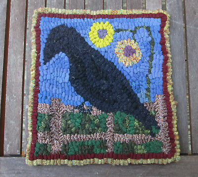 Crow on the Fence Primitive Rug Hooking Kit with cut wool strips on monks cloth