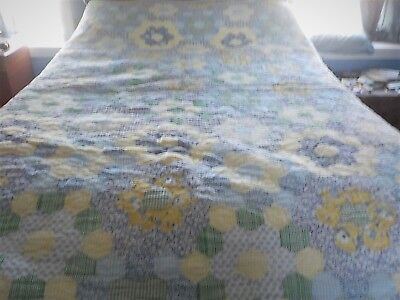"""Grandmothers flower garden hand quilted quilt blues yellows 68"""" x 84"""""""