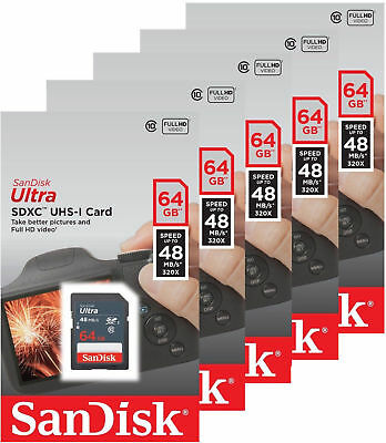 5x Pack SanDisk Ultra 16GB 32GB 64GB SDHC SD XC 48MB/s C10 Flash Camera Card Lot