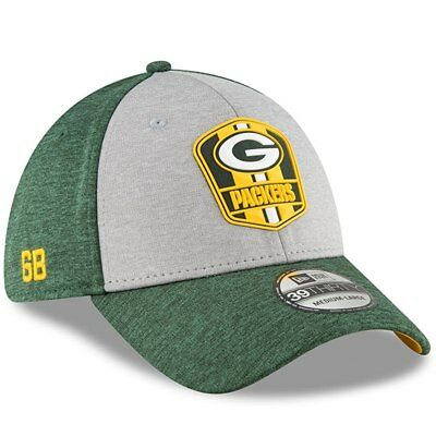 ae88e2940d2535 GREEN BAY PACKERS New Era 2018 Road Sideline 39THIRTY Flex Hat–Gray/Green