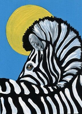 ACEO ATC Original Zebra  Wildlife Art Miniature Painting  -Carla Smale