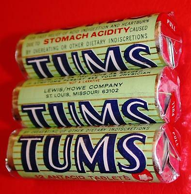Vintage 1960's 3 Sealed Rolls TUMS Antacid Tablets Old Store Stock MIP mint NOS