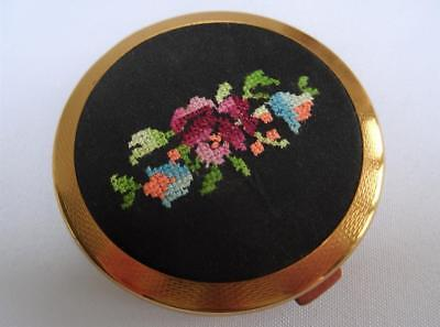 Vintage 1950's Gilt Metal Ladies Powder Compact - Floral Embroidered Petit Point