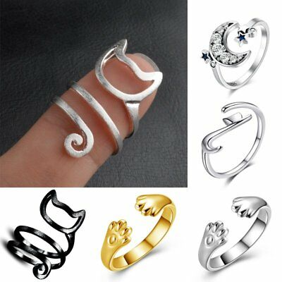 Adjustable Cat Moon Paw Rings Gold Silver Charm Finger Knuckle Hot Party Jewelry