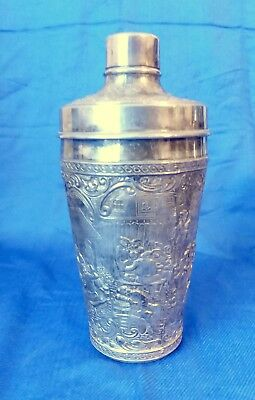 Antique Silverplate Cocktail shaker by International repousse outdoor party