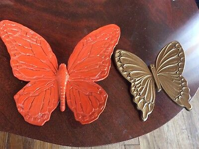 2 Vintage Syroco Gold orange Plastic Butterfly Wall Art Plaque Hangings mcm dart