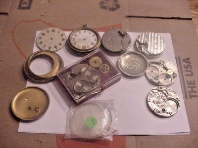 Car Clock Parts Waltham and Elgin Large lot complete and partial take a look