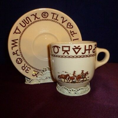 VTG Wallace WESTWARD HO Large Cup & Saucer set, Rodeo Pattern, U.S.A. made - EUC