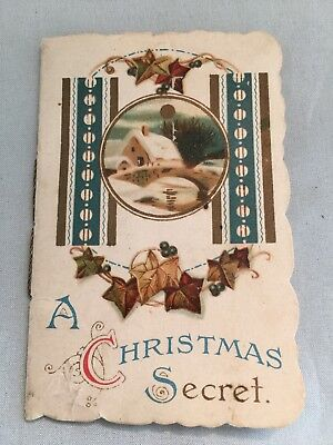 Antique German Victorian Miniture A Christmas Secret Booklet