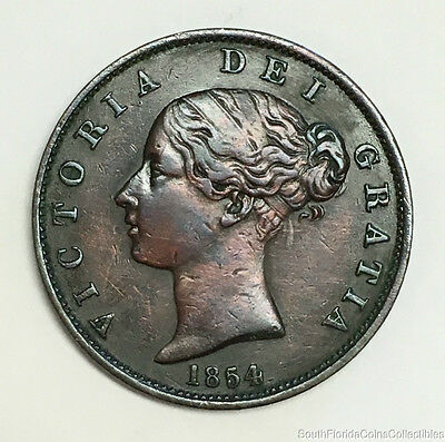 World Coin Queen Victoria 1854 Great Britain One Penny About Uncirculated