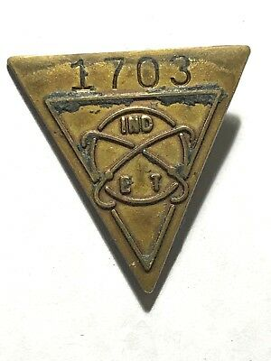 """Mystery Pin with Triangle & Atom Marked """"IND ET"""" & Numbered 1703  L@@K C-14"""